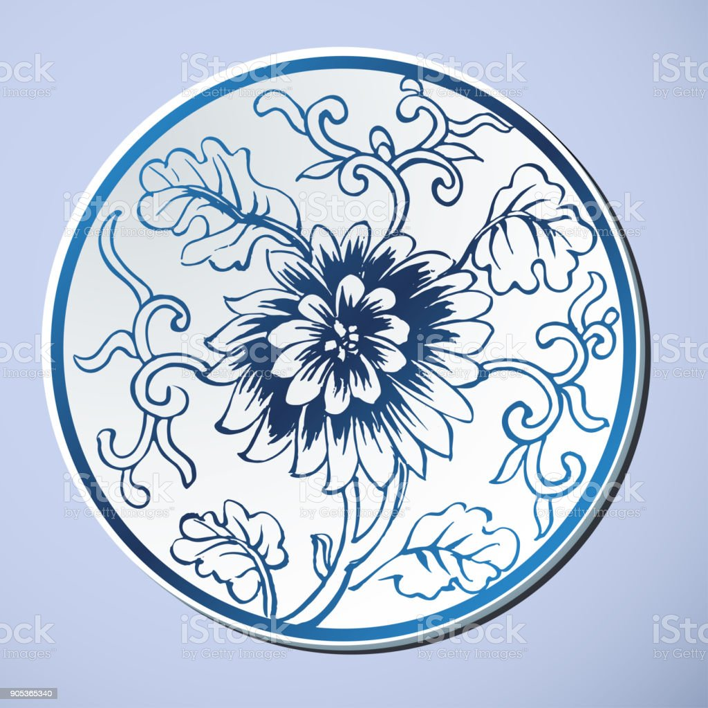 Chinese Traditional Blue And White Porcelain vector art illustration