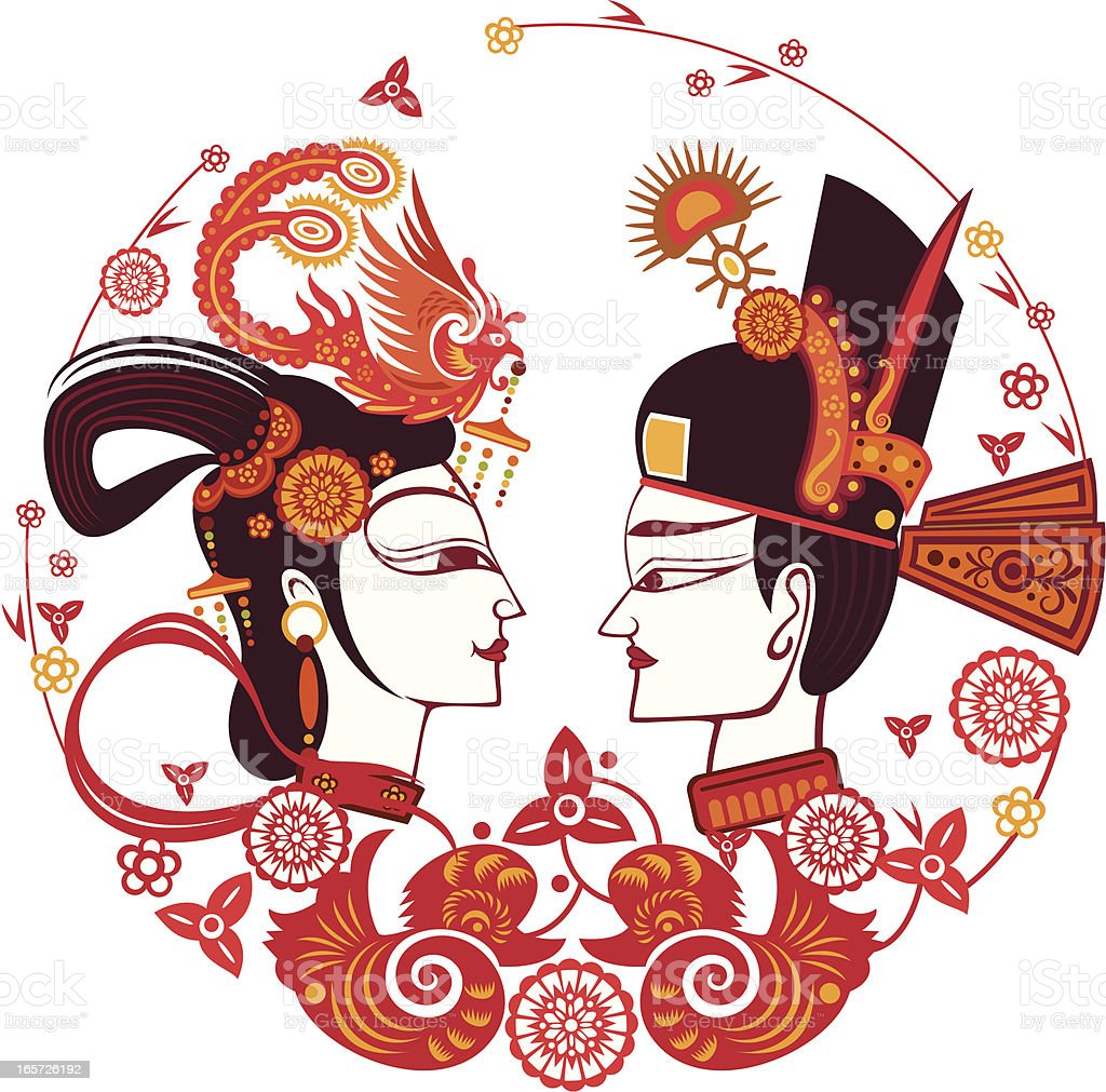chinese traditional bride and bridegroom royalty-free stock vector art