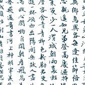 Chinese traditional calligraphy seamless pattern. Asian hieroglyph symbol background.