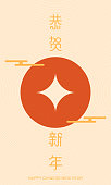 Chinese traditional coins, Chinese New Year poster template or Chinese New Year greeting card.Chinese character means