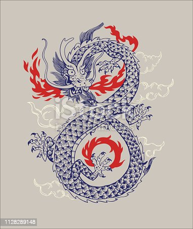 istock Chinese Traditional Dragon Vector Illustration. Oriental Dragon Infiniti Shape Isolated Ornament Outline Silhouette. Asian Mythology Animal Graphic Design for Print or Tattoo 1128289148