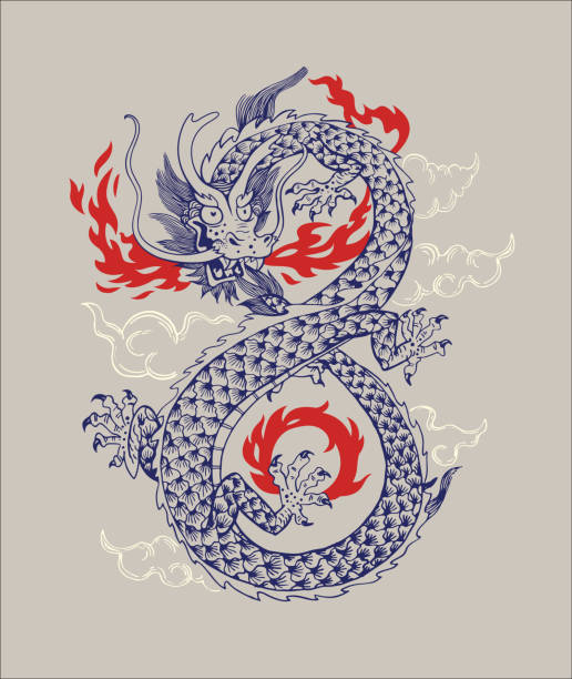 illustrations, cliparts, dessins animés et icônes de illustration vectorielle de dragon traditionnel chinois. dragon oriental infiniti forme isolé ornement contour silhouette. mythologie asiatique animaux design graphique pour l'impression ou de tatouage - tatouages dragons