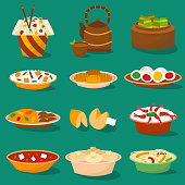 Chinese traditional food steamed dumpling asian delicious cuisine healthy dinner meal and gourmet china lunch breakfast cooked vector illustration. Spicy meat chopsticks pork soup plate dish.
