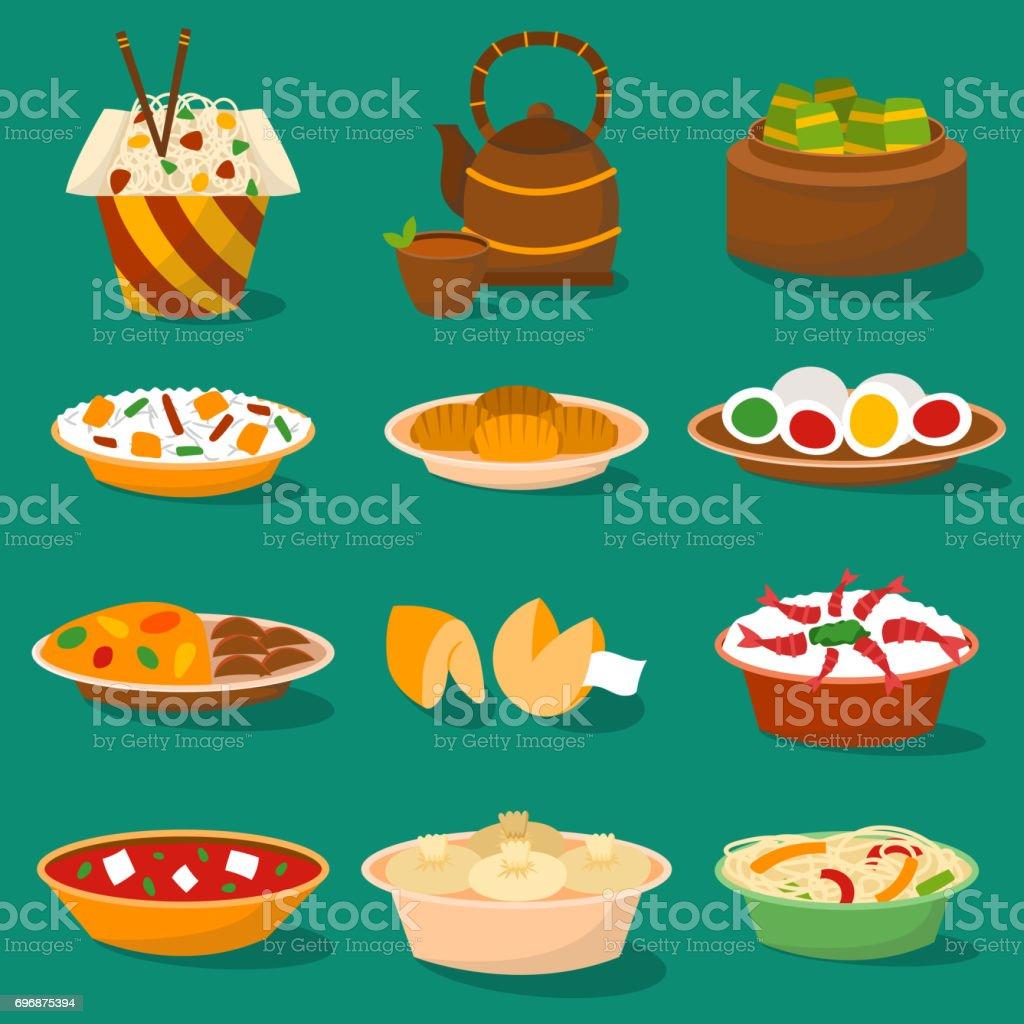Comida tradicional China cocina asiática deliciosa cena comida china comida cocinada ilustración vectorial - ilustración de arte vectorial