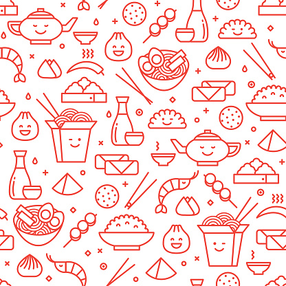 Vector seamless pattern of Chinese cuisine. Traditional national food of China take away boxes, noodles, dim sum, ramen and spring rolls. Line art iconic style.