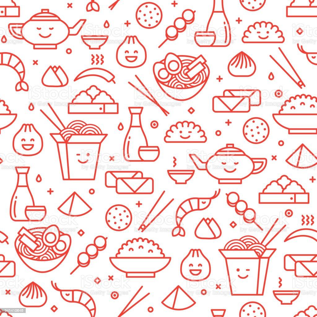 Patrón sin fisuras de la línea de comida tradicional China - ilustración de arte vectorial