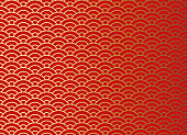 Chinese traditional oriental ornament background, red golden clouds pattern seamless