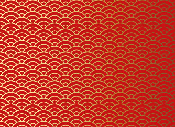 Chinese traditional oriental ornament background, red golden clouds pattern seamless. Chinese traditional oriental ornament background, red golden clouds pattern seamless china stock illustrations