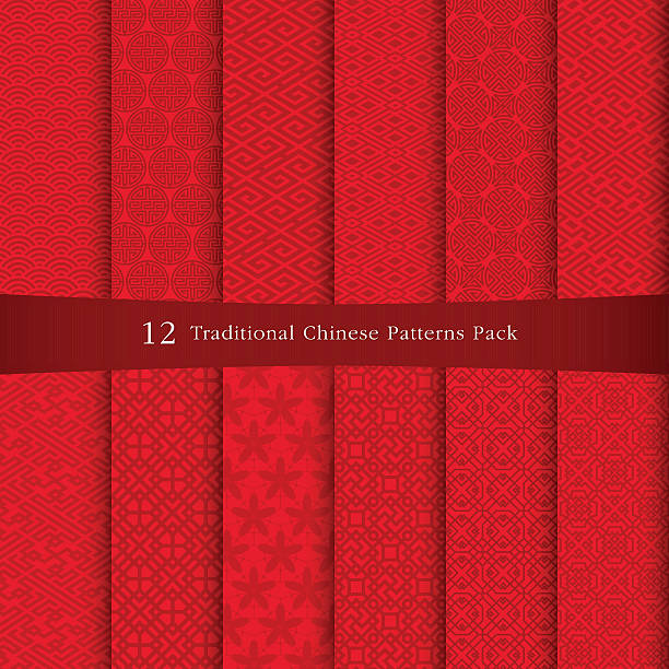 Chinese traditional pattern 12 Chinese traditional patterns pack, come with layer. china stock illustrations