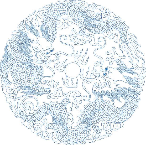 illustrazioni stock, clip art, cartoni animati e icone di tendenza di motivo di drago cinese (tradizionale - totem fair
