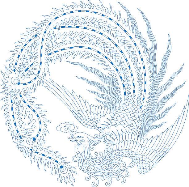 illustrazioni stock, clip art, cartoni animati e icone di tendenza di cinese (tradizionale motivo di phoenix - totem fair