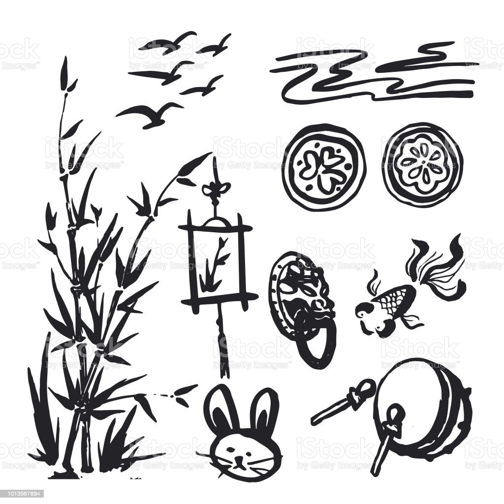 Chinese Traditional Symbols Doodle Set Vector Illustration Stock