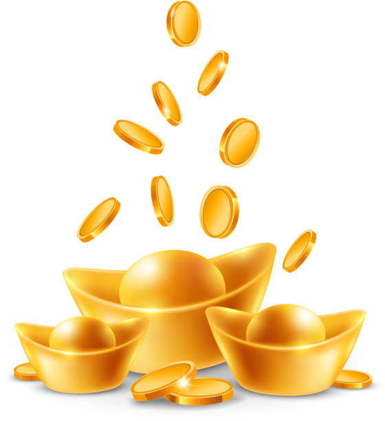 Chinese treasure Chinese golden ingots and coins isolated on white background. Vector illustration. ingot stock illustrations