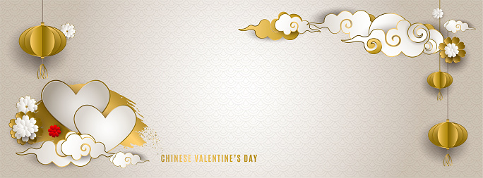 Chinese Valentine's day. Banner with clouds, lanterns, hearts, flowers. Asian patterns. Qixi festival double 7th day. For cover social network, wedding invitation. Paper style. Vector illustration
