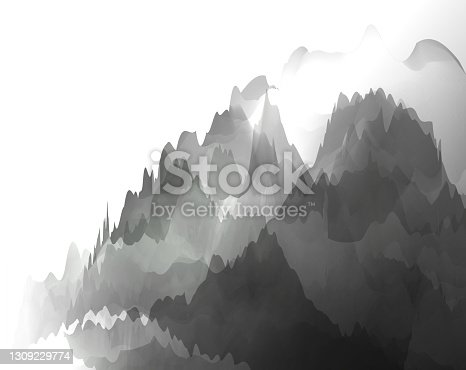 istock Chinese watercolor mountain fantasy vector backgrounds 1309229774