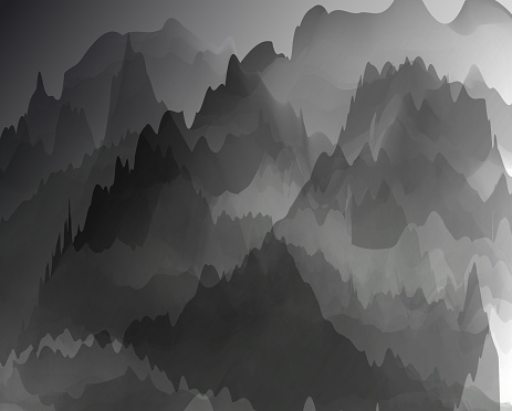 Chinese watercolor mountain fantasy vector backgrounds