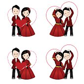 Chinese wedding cartoon, bride and groom holding each other's hands and pose heart shape (Love acting) with traditional Chinese dress and outfit.