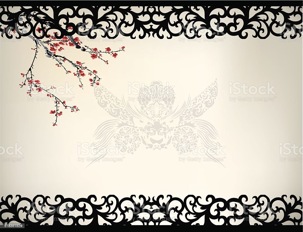 Chinese window frame vector art illustration