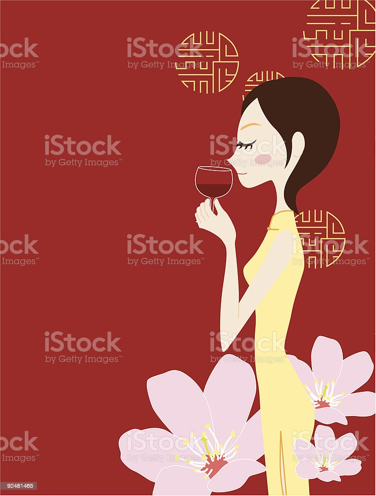 Chinese woman and red wine royalty-free chinese woman and red wine stock vector art & more images of adult