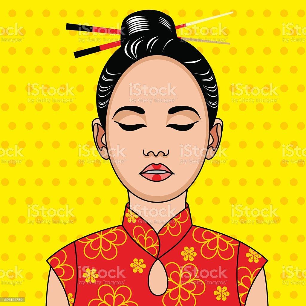 dee54975df00 Donna Cinese In Costume Tradizionale Vignetta Illustrazione Di Stile ...