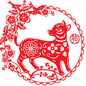 Chinese Year of Dog illustration in red paper cut style