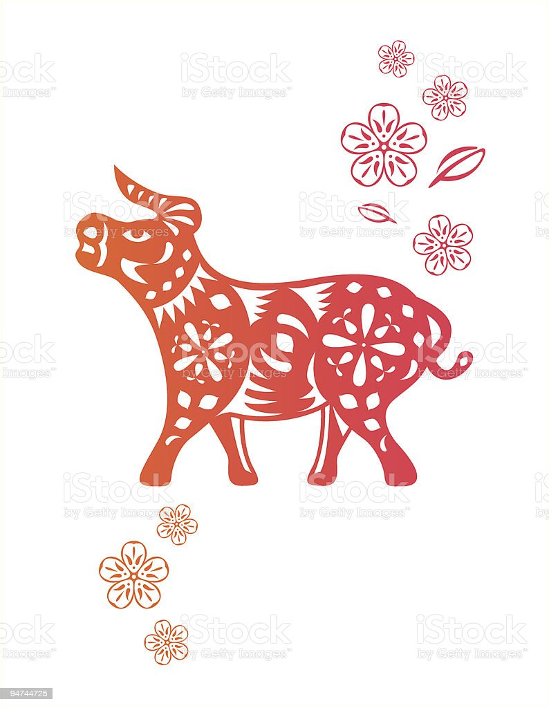 Chinese year of OX Cow royalty-free stock vector art