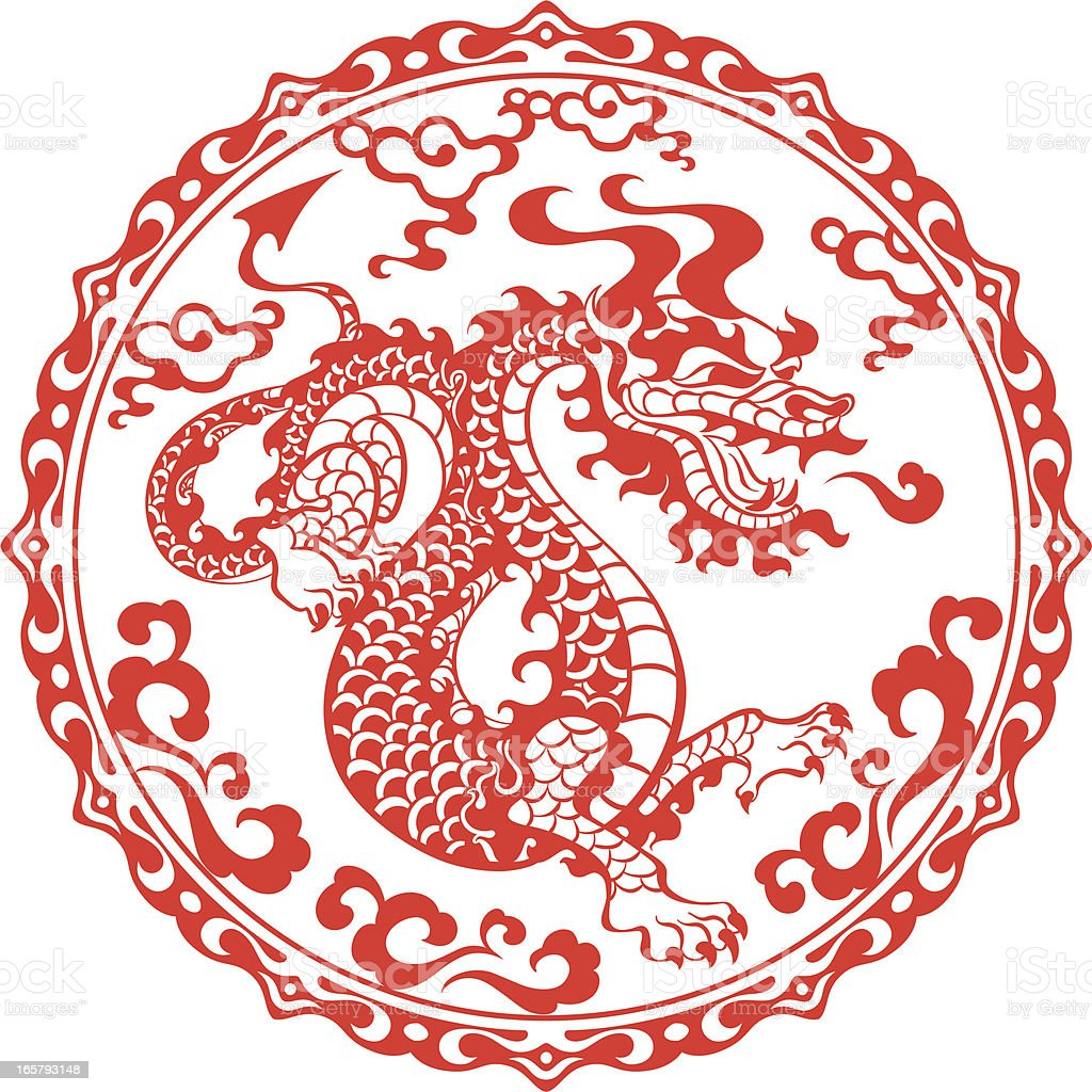 Chinese year of the dragon 2012 (red) vector art illustration