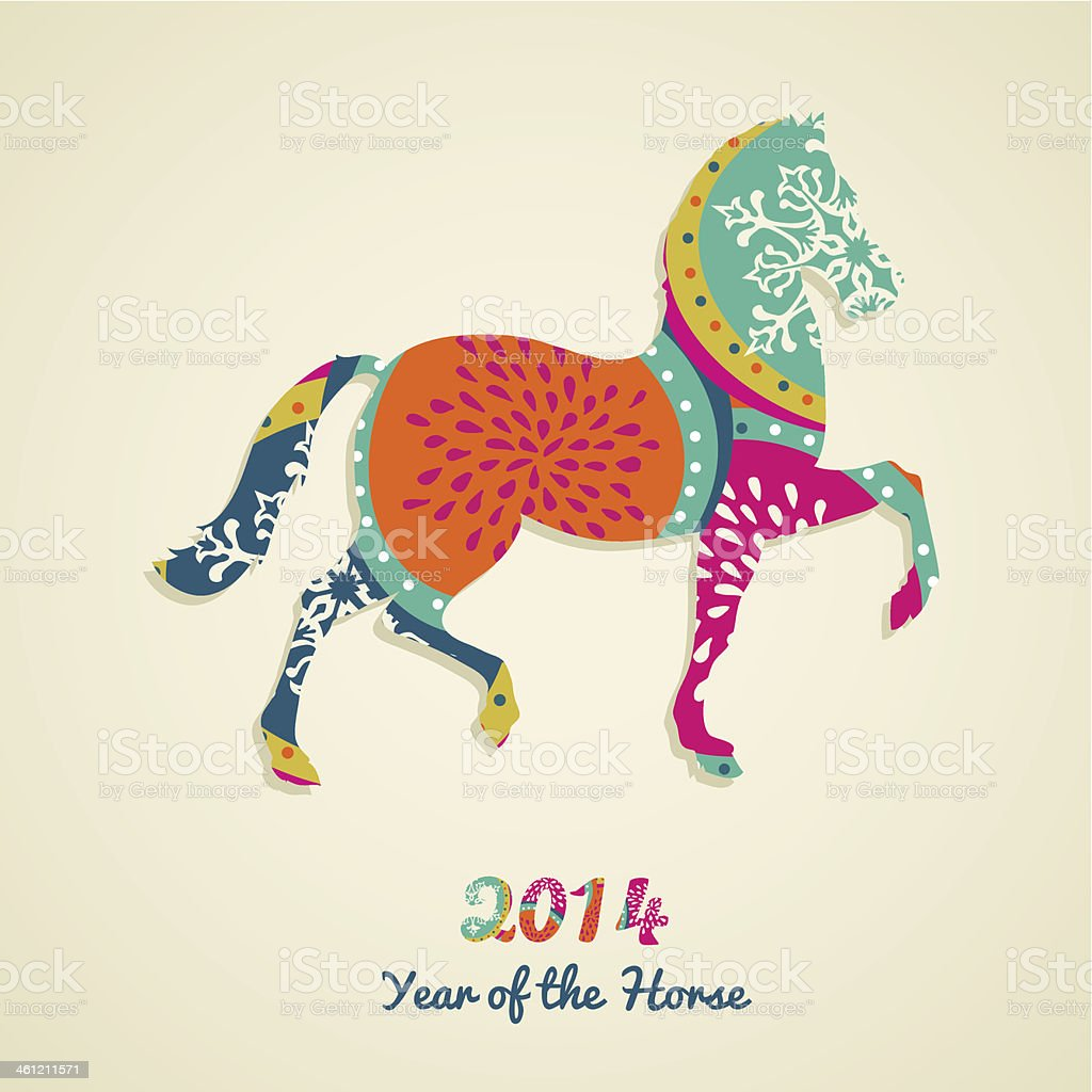 Chinese Year of the Horse 2014 greeting card vector art illustration