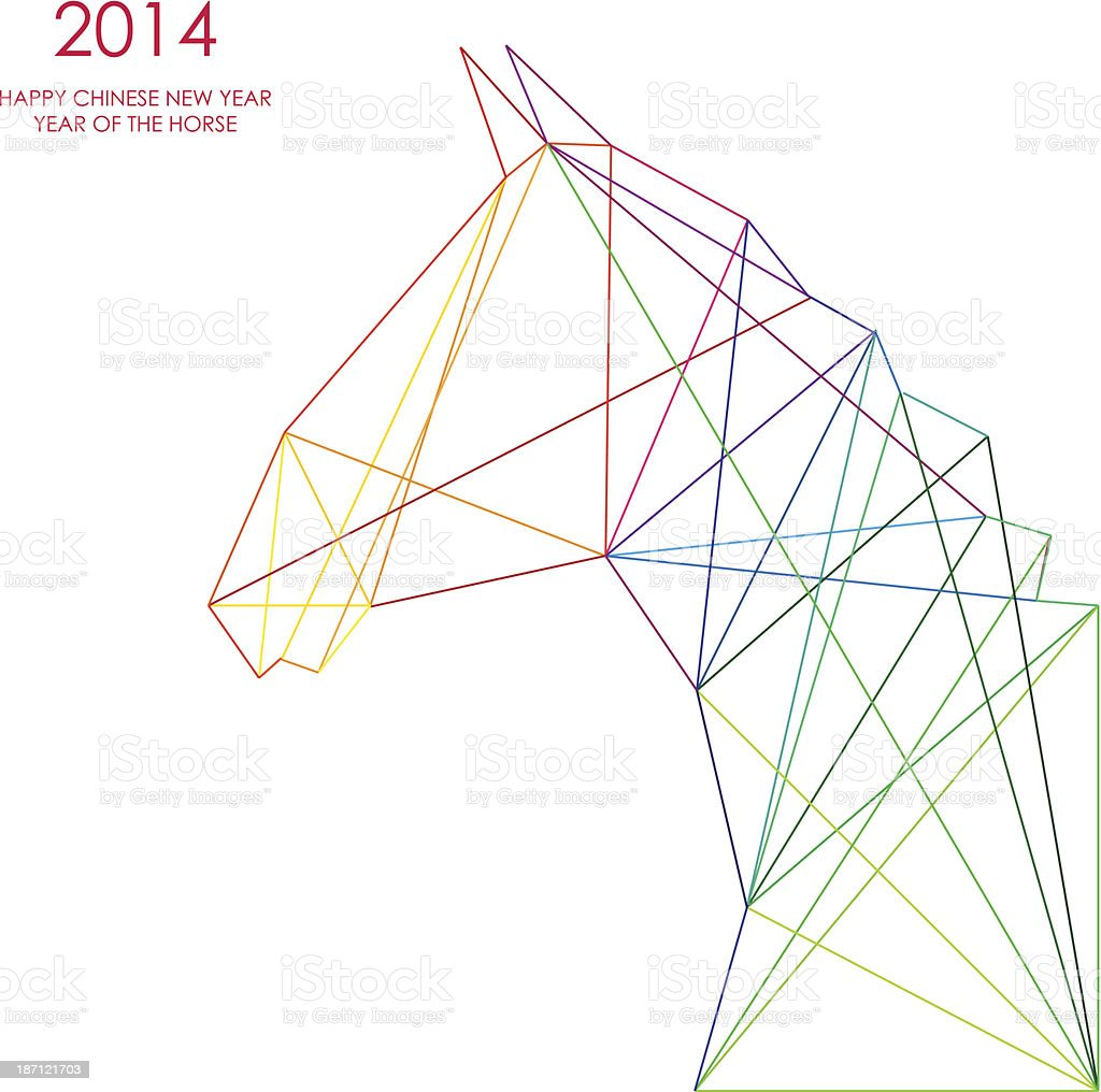 2014 Chinese Year of the Horse vector line drawing vector art illustration