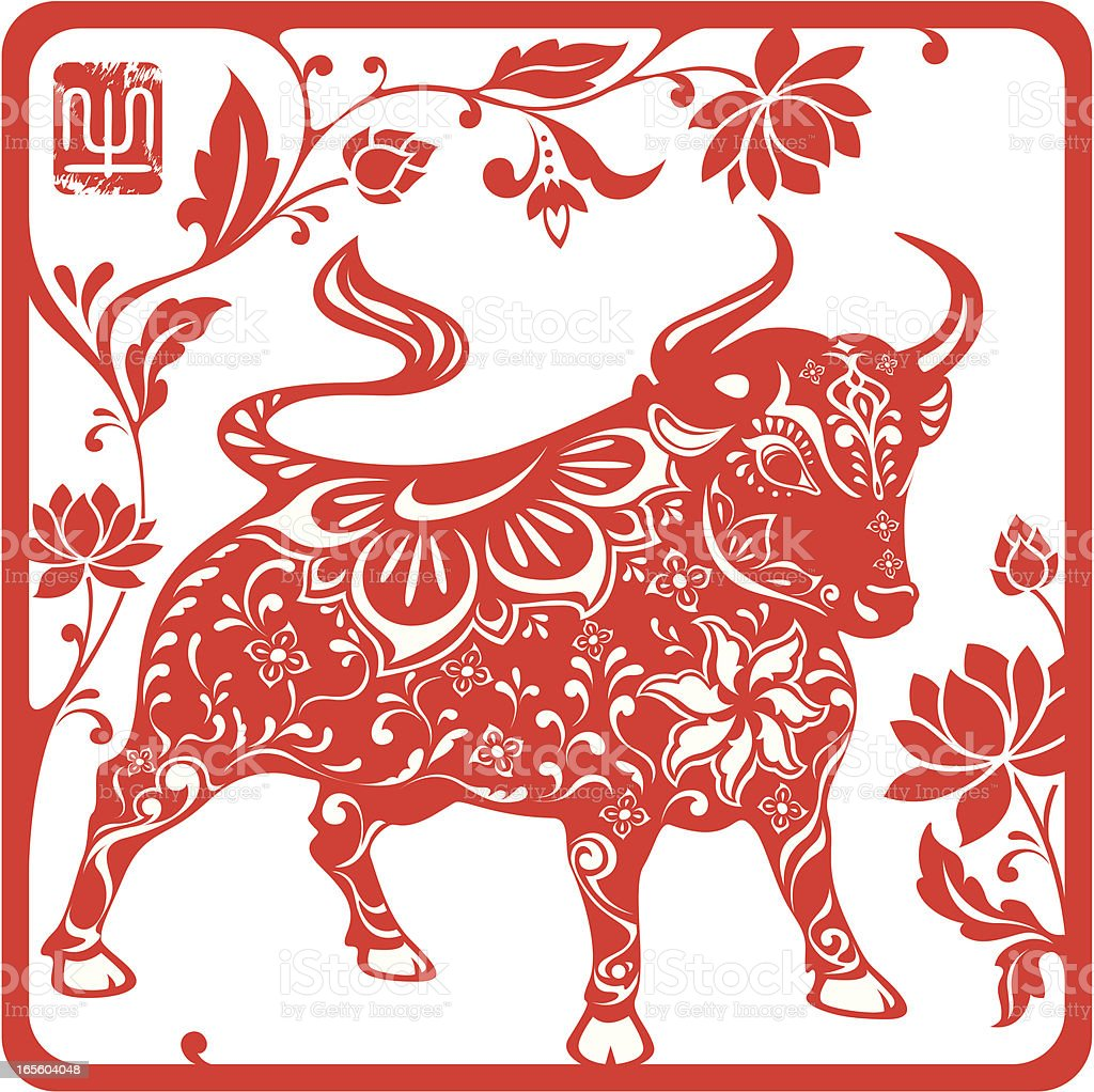 Chinese year of the ox 2009 (red) vector art illustration