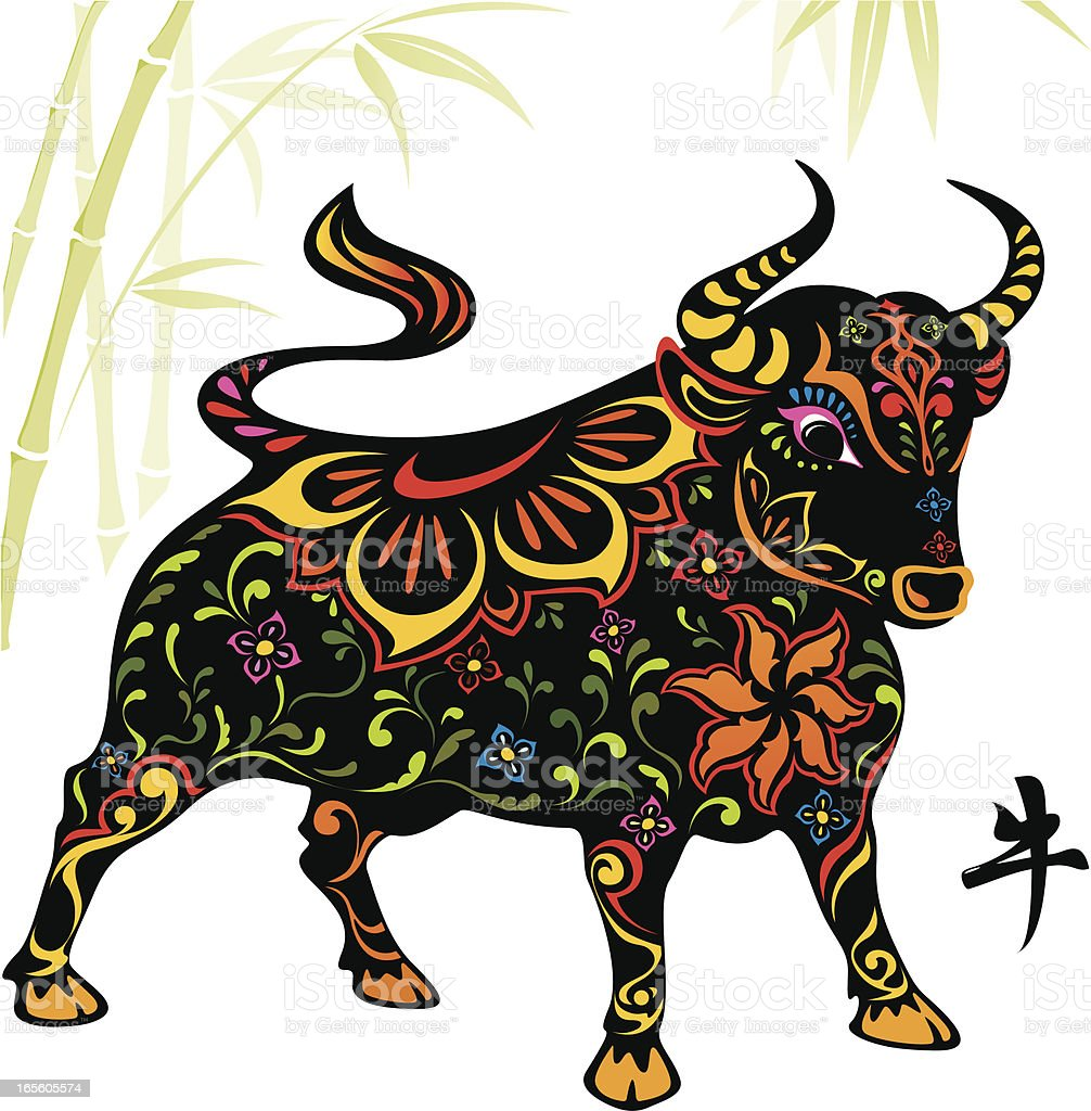 Chinese year of the ox 2009 vector art illustration