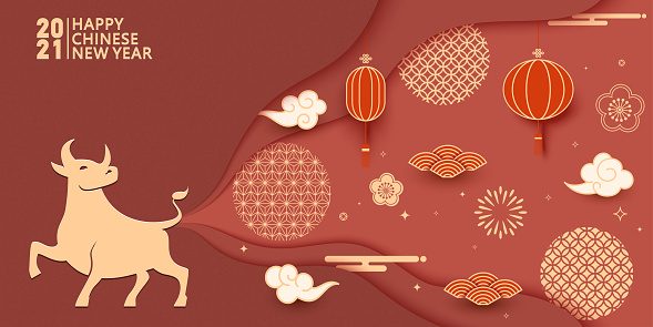 Chinese Year of the Ox vector illustration, red lanterns and traditional Chinese texture patterns