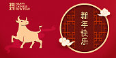 Chinese Year of the Ox vector illustration, the Chinese in the traditional Chinese window means Happy New Year