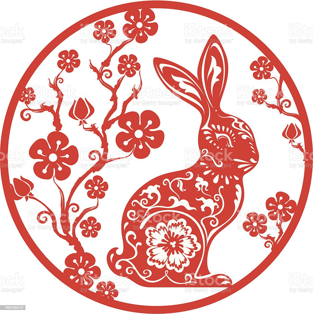 Chinese year of the rabbit 2011 (red) vector art illustration