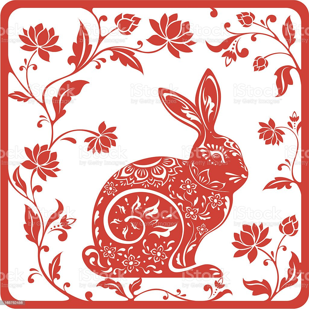 Chinese year of the rabbit 2011 (red) royalty-free chinese year of the rabbit 2011 stock vector art & more images of animal