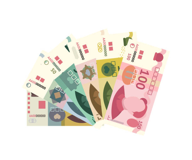 Chinese yuan banknote stack isolated on white Cartoon colorful chinese yuan paper banknote stack isolated on white backdrop. Flat asian currency different nominal value design. Bank and finance. Trading and exchange. Graphic vector illustration taiwanese currency stock illustrations