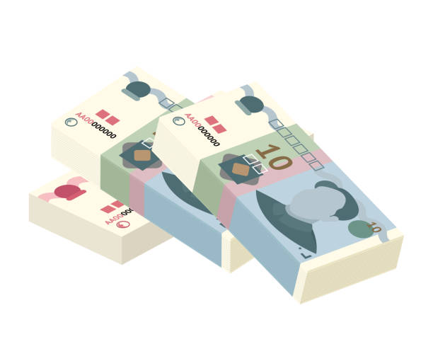 Chinese yuan banknote stack isolated on white Cartoon colorful chinese yuan paper banknote stack isolated on white backdrop. Flat asian currency different nominal value design. Bank and finance. Trading and exchange. Graphic vector illustration yuan symbol stock illustrations