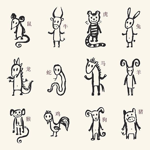 chinese zodiac. 12 tiere astrologischen zeichen. - lustige kuh bilder stock-grafiken, -clipart, -cartoons und -symbole