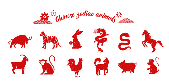 Chinese zodiac animal collection. Twelve asian new year red character logos set isolated on white background. Vector illustration of astrology calendar horoscope symbols