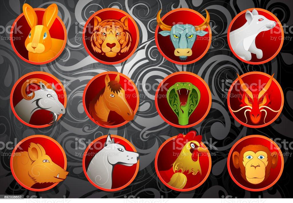 Chinese zodiac animal signs set vector art illustration