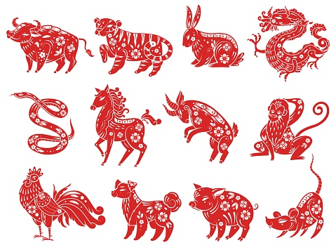 Chinese Zodiac animals. Astrological signs, traditional oriental Asian style horoscope, twelve animal red silhouettes collection with decor and ornaments. New year vector flat cartoon set