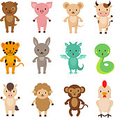 Chinese zodiac animals cartoon vector characters set. Dragon and snake, dog and rabbit, horse and monkey, tiger and pig illustration