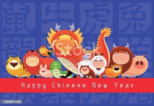 istock Chinese Zodiac animals gathering 1263841442