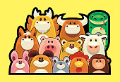 vector illustration of Chinese Zodiac animals heads