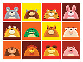 full set vector symbols of Chinese Zodiac animals gathering