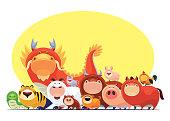 istock Chinese Zodiac animals meeting 1255873220