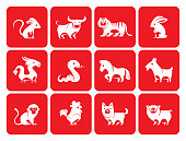 full set vector animals of chinese Zodiac animals silhouette