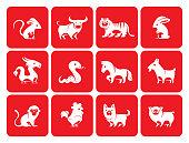 Chinese Zodiac animals silhouette