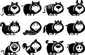 full set vector animals of chinese Zodiac animals silhouette