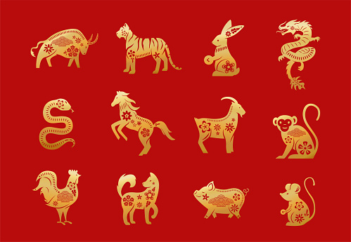 Chinese zodiac animals. Twelve asian new year golden characters set isolated on red background. Vector illustration of astrology calendar horoscope symbols